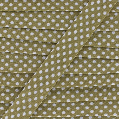 Cotton bias binding, with white polka dots - white/dark beige x 1m