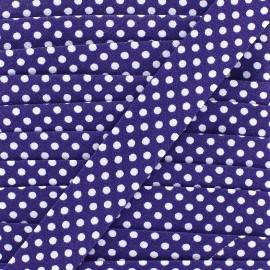 Biais coton à pois 18mm - blanc/violet x 1m