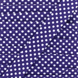 Cotton bias binding, with white polka dots - white/purple x 1m