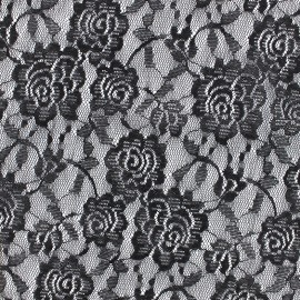 Tissu Dentelle élasthanne Fleur - noir x 10cm