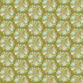Tilda cotton fabric Flower nest - green x 10cm