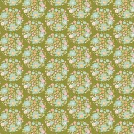 Tissu coton Tilda Flower nest - green x 10cm