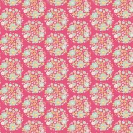 Tissu coton Tilda Flower nest - pink x 10cm