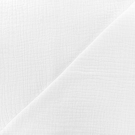 Tissu double gaze de coton MPM - blanc x 10cm