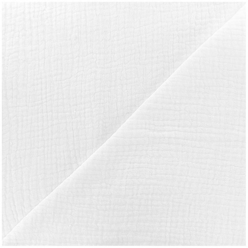 tissus pas cher 100 coton tissu double gaze de coton mpm blanc. Black Bedroom Furniture Sets. Home Design Ideas