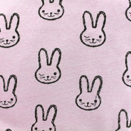 Sweat with minkee reverse side Fabric Lapinou - pink x 10cm