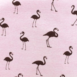 Tissu sweat envers minkee Flamingo - rose x 10cm