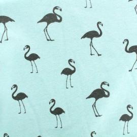 Sweat with minkee reverse side Fabric Flamingo - frozen mint x 10cm