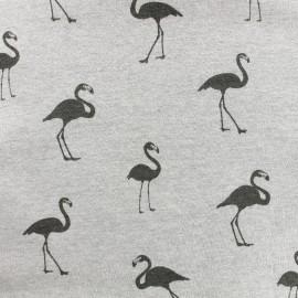 Sweat with minkee reverse side Fabric Flamingo - light grey x 10cm