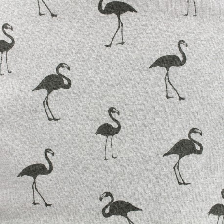 Tissu sweat envers minkee Flamingo - gris clair x 10cm