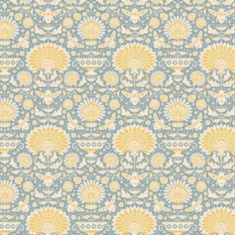 Tilda cotton fabric Garden bees - blue x 10cm