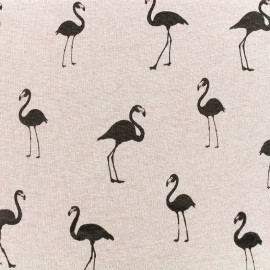 Sweat with minkee reverse side Fabric Flamingo - old pink x 10cm