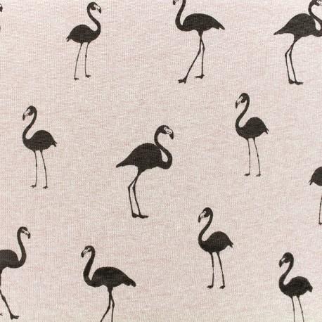 Tissu sweat envers minkee Flamingo - vieux rose x 10cm