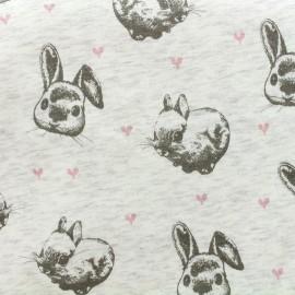 Sweat with minkee reverse side Fabric Rabbit - ecru x 10cm