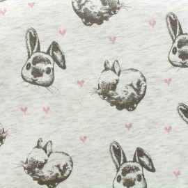 Tissu sweat envers minkee Rabbit - écru x 10cm
