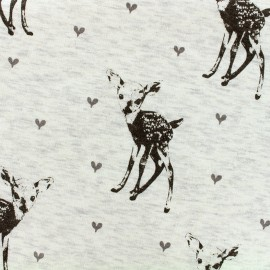 Sweat with minkee reverse side Fabric Bambi - mocked ecru x 10cm