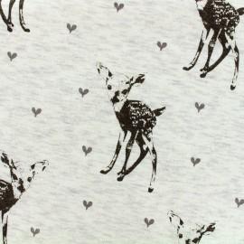 Tissu sweat envers minkee Bambi - écru chiné x 10cm