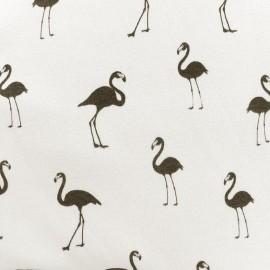 Tissu sweat envers minkee Flamingo - blanc cassé x 10cm