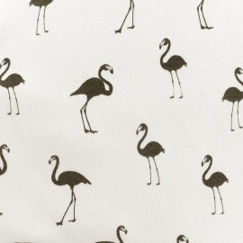 Sweat with minkee reverse side Fabric Flamingo - off-white x 10cm