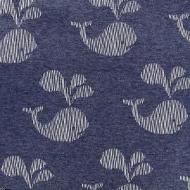 Tissu sweat envers minkee Baleine - blanc/bleu chiné x 10cm