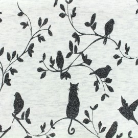 Mocked sweat with minkee reverse side Fabric Garden glitter black - ecru x 10cm