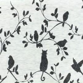 Tissu sweat envers minkee chiné Garden glitter noir - écru x 10cm