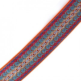Flat elastic embroidery 50 mm - neon orange x 1m