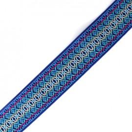 Elastique plat broderie 50 mm - bleu x 1m