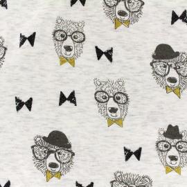 Mocked sweat with minkee reverse side Fabric Alphonse glitter black - ecru x 10cm