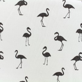 Mocked sweat with minkee reverse side Fabric Flamingo glitter black - ecru x 10cm