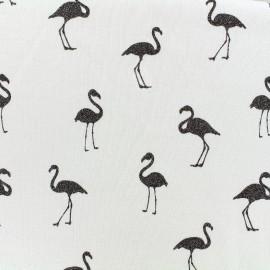 Tissu sweat envers minkee chiné Flamingo glitter noir - écru x 10cm
