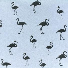 Sweat with minkee reverse side Fabric Flamingo - light blue x 10cm