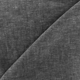 Plain light linen viscose fabric - black x 10cm