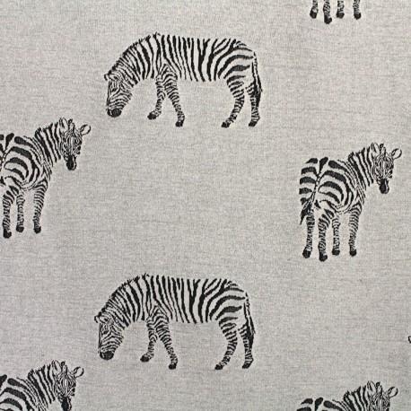 Jersey jacquard fabric Zebra - grey x 23cm