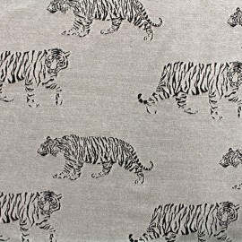 ♥ Coupon 55 cm X 180 cm ♥ Jersey jacquard fabric Tiger - grey