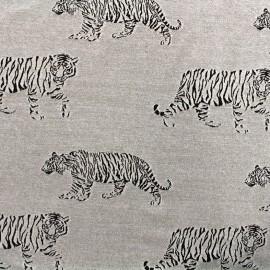 ♥ Coupon 55 cm X 180 cm ♥ Tissu Jersey jacquard Tiger - gris