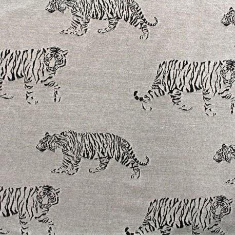 Jersey jacquard fabric Tiger - grey