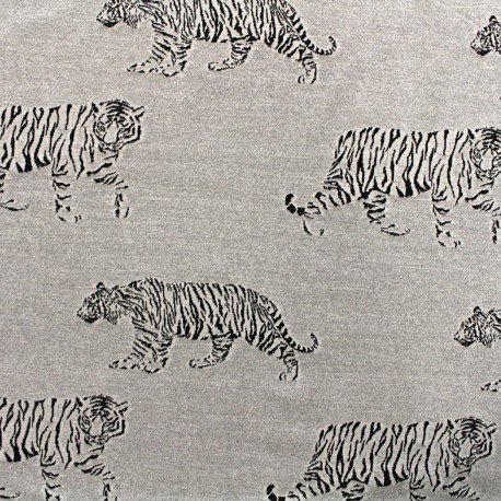 Jersey jacquard fabric Tiger - grey x 23cm