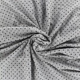 Tissu jersey viscose chiné petit pois - noir/gris x 10cm