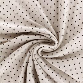 mocked viscose jersey fabric petit pois - black/grege x 10cm