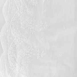 Tissu coton brodé festonné Juliette - blanc x 10cm