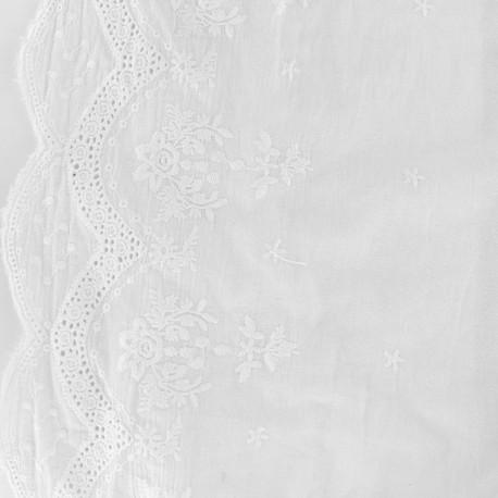 Tissu coton brod festonn juliette blanc x 10cm ma - Rideau coton blanc brode ...