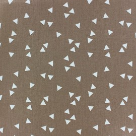 Tissu coton Poppy Triangle - blanc/brun x 10cm