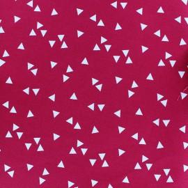 Tissu coton Poppy Triangle - blanc/framboise x 10cm