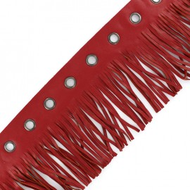 faux leather fringe ribbon trim with eyelets 105 mm - red x 50 cm