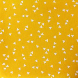 Tissu coton Poppy Triangle - blanc/jaune x 10cm