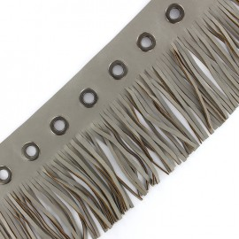 faux leather fringe ribbon trim with eyelets 105 mm - grey x 50 cm