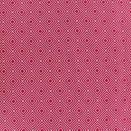 Tissu coton Poppy Square - blanc/framboise x 10cm