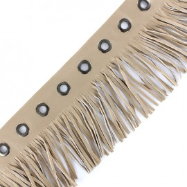faux leather fringe ribbon trim with eyelets 105 mm - beige x 50 cm