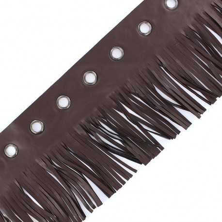 faux leather fringe ribbon trim with eyelets 105 mm - brown x 50 cm